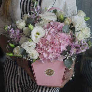 Нежно-розовая сумка с гортензией