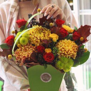 Осенняя сумка с желтыми хризантемами