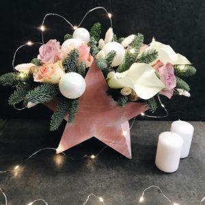 "Композиция ""Звезда"" с белыми каллами и розами"