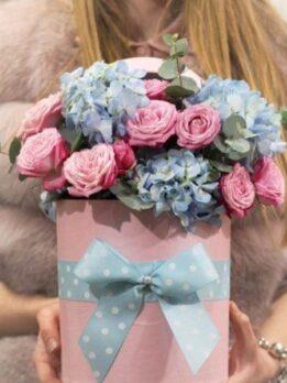 Цветочные композиции в шляпных коробках