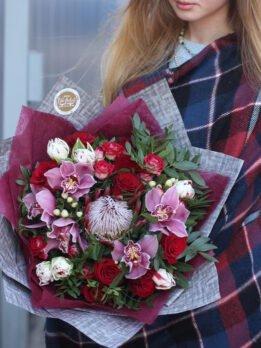 ###цветы#доставкаХарьков#элитбукет#Оранжевобелый#букет#протея#орхидея#розы##