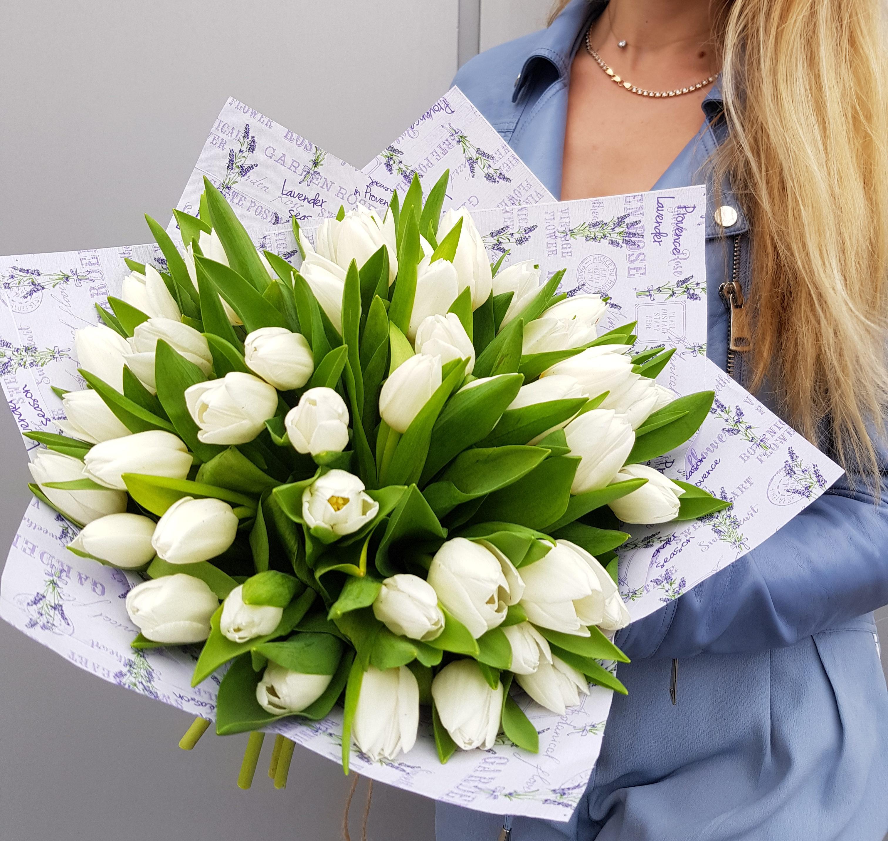 Букет, букет белых тюльпанов фото
