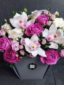 """Серая сумочка с орхидеями и пионовидными розами """"Лавандер"""""""